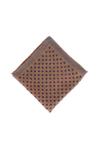 Brunello Cucinelli - Brown Square & Dot Wool Pocket Square