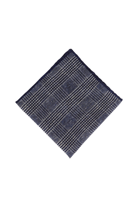 Brunello Cucinelli Dark Blue Check Wool Pocket Square