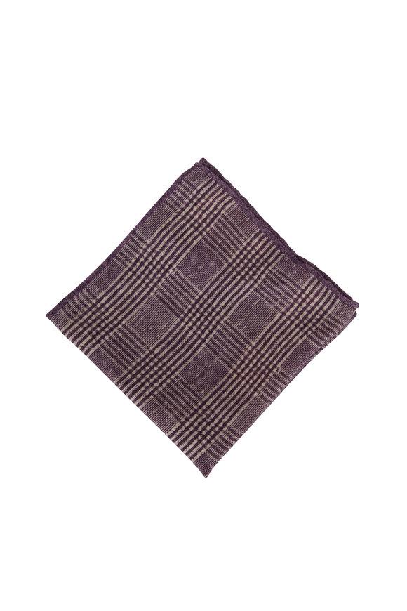 Brunello Cucinelli Grape Check Wool Pocket Square