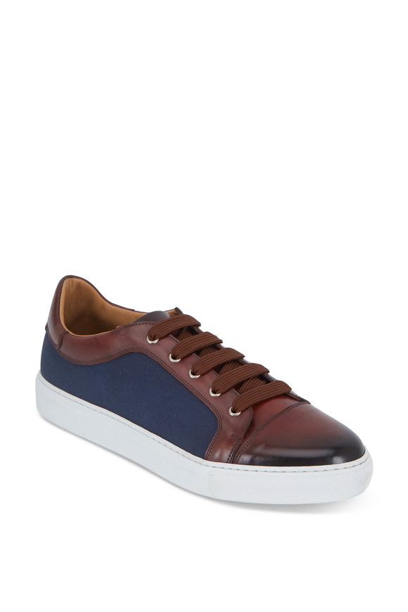 Di Bianco Melograno & Azul Gabardine & Leather Sneaker