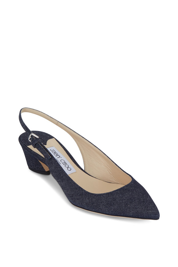Jimmy Choo Gemma Indigo Denim Slingback, 40mm
