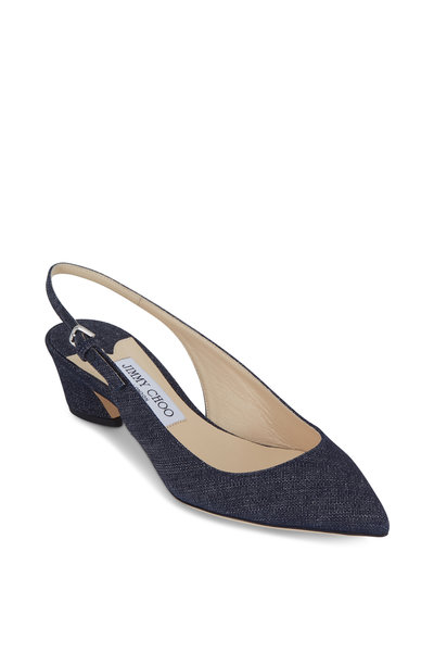 Jimmy Choo - Gemma Indigo Denim Slingback, 40mm
