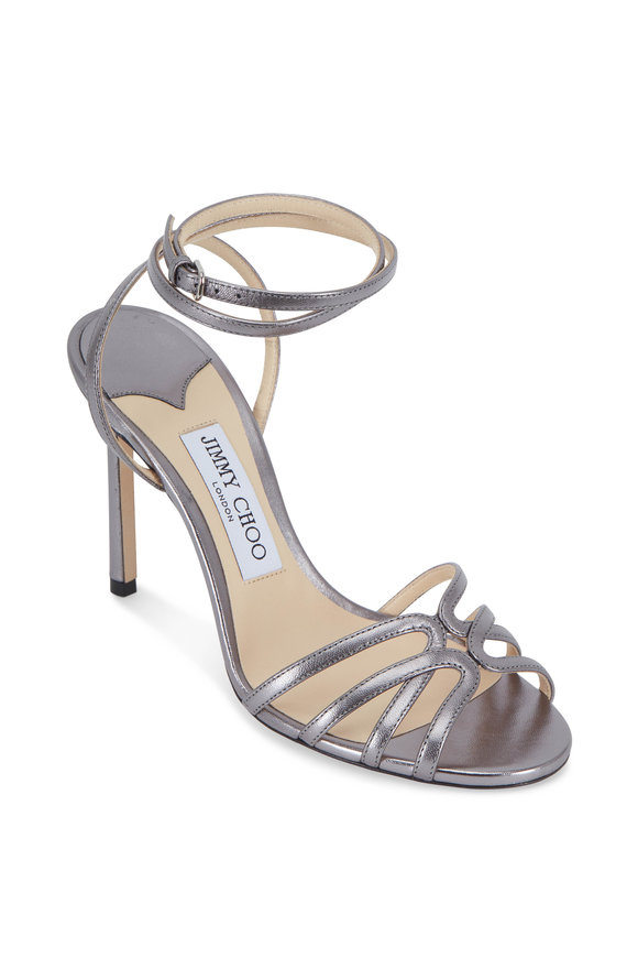 Jimmy Choo Mimi Anthracite Leather Strappy Sandal, 100mm