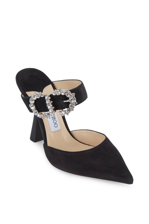 Jimmy Choo Smokey Black Suede Jeweled Maryjane Mule, 100mm