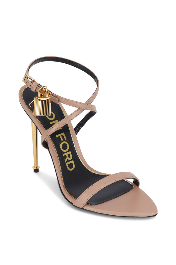 Tom Ford Flesh Padlock Rose Gold Heel Sandal, 105mm