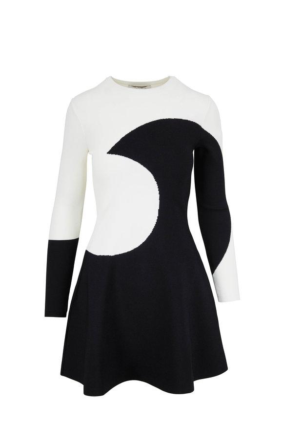 Valentino Ivory & Black Moon Inset Knit Dress