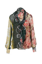 Oscar de la Renta - Spruce Patchwork Silk-Chiffon Tie Neck Blouse