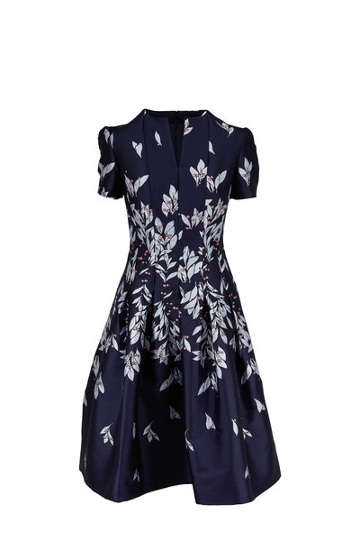 Oscar de la Renta - Navy Taffeta Floral Embroidered Short Sleeve Dress