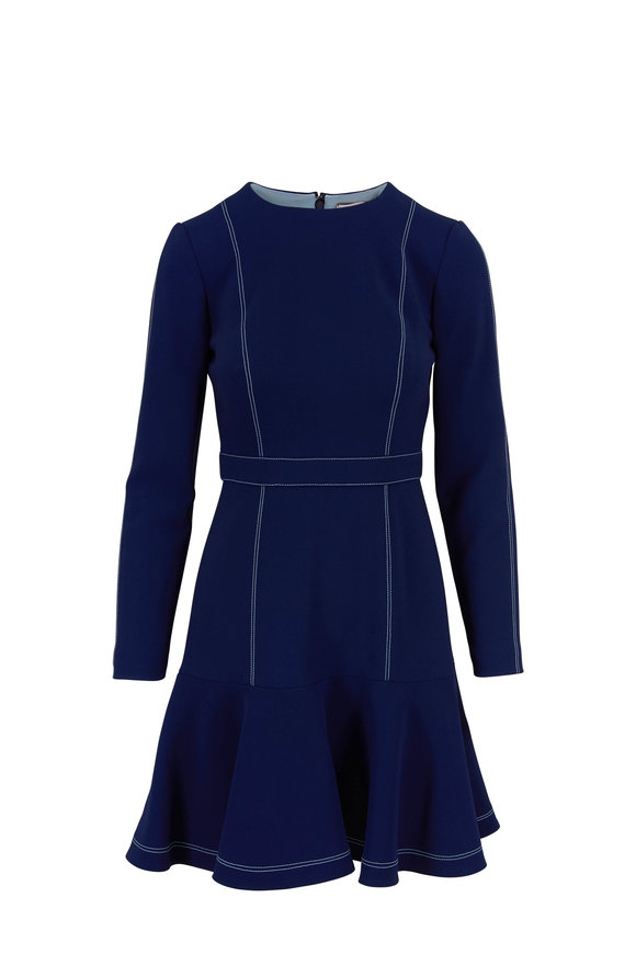 Carolina Herrera Sapphire Flounce Hem Dress