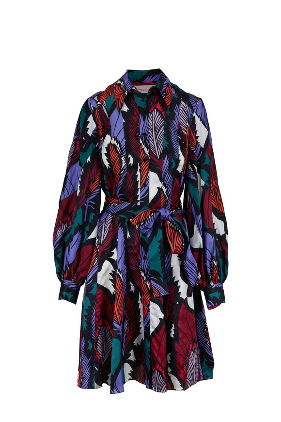 Carolina Herrera Multicolor Feather Print Belted Shirtdress