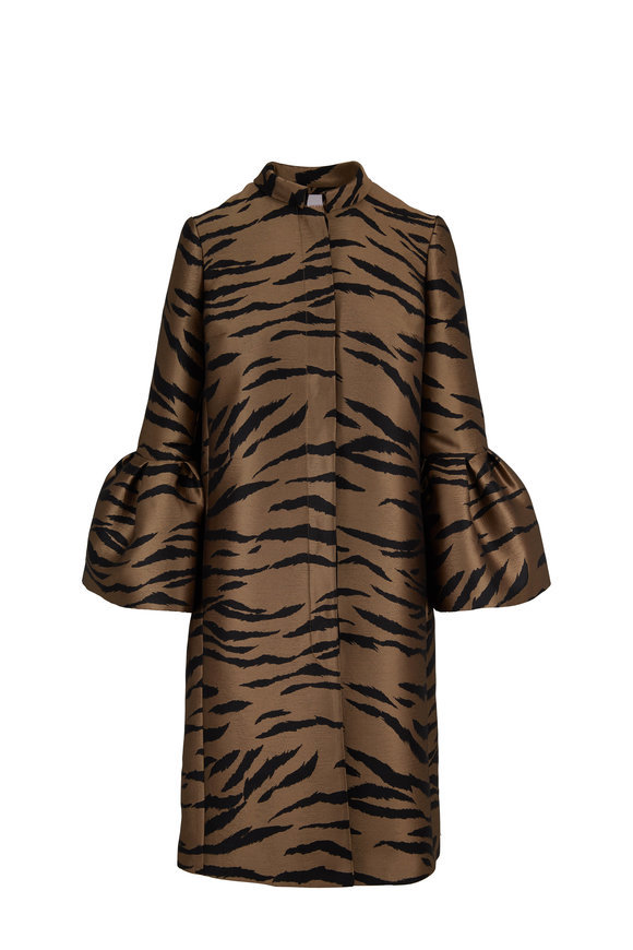 Carolina Herrera Tiger Print Bell Sleeve Cape Coat