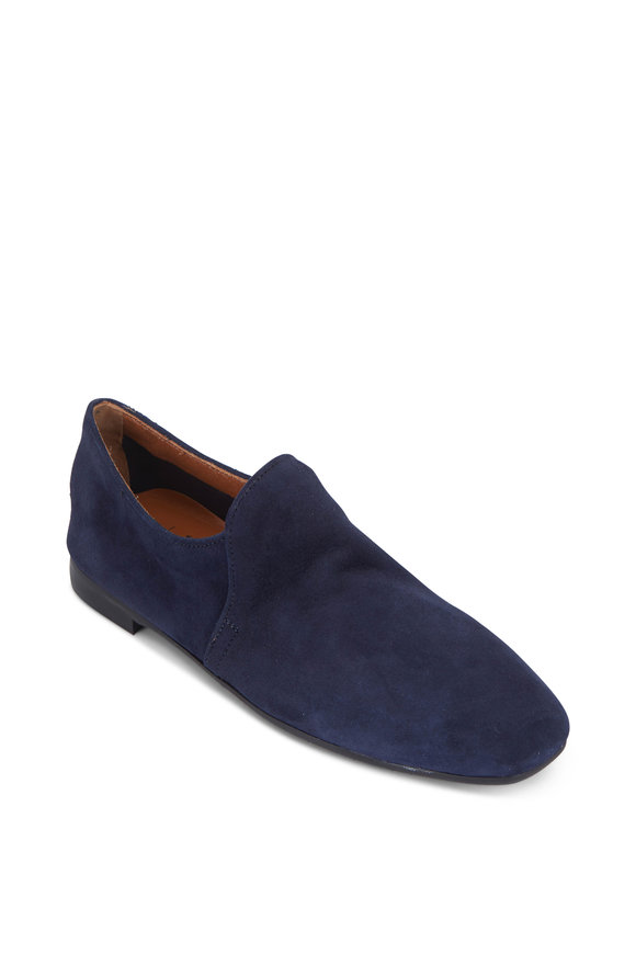 Aquatalia Revy Sapphire Blue Weatherproof Suede Soft Loafer