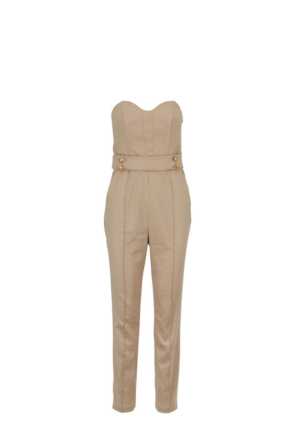 Veronica Beard Joanna Khaki Stretch Linen Strapless Jumpsuit