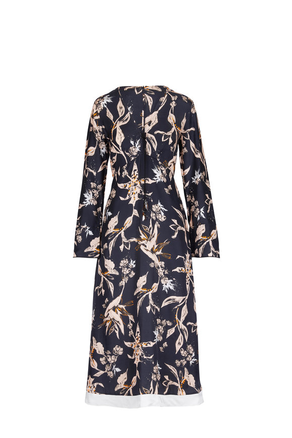 Dorothee Schumacher Tamed Florals Printed V-Neck Dress