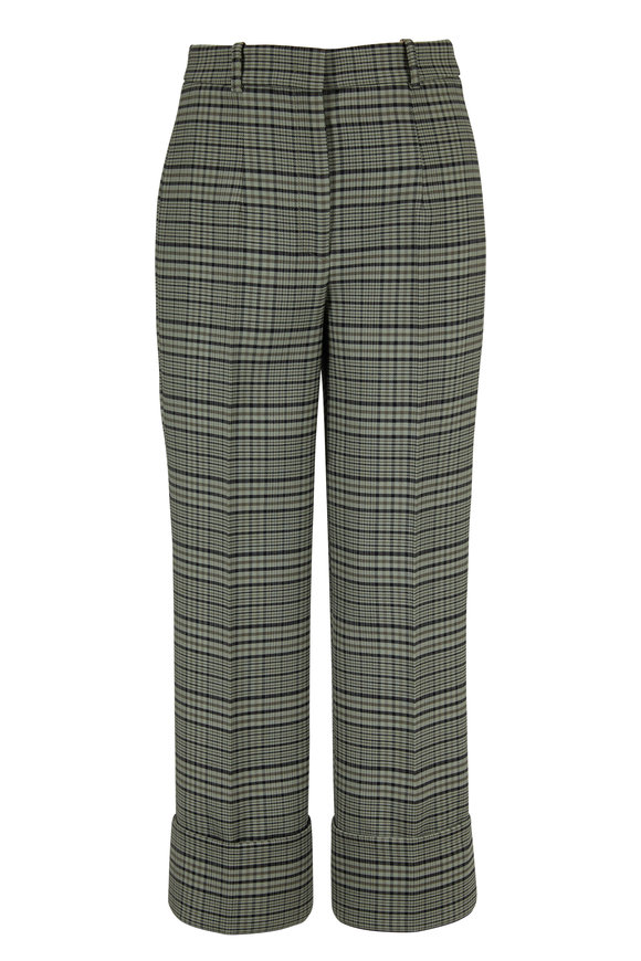 Michael Kors Collection Pine & Black Plaid Wool Cuffed Crop Pant