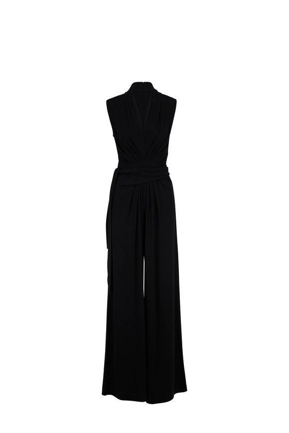 Michael Kors Collection Palazzo Black Jersey Wrap Jumpsuit
