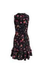 Michael Kors Collection - Black & Rosewood Floral Ruffle Hem Belted Dress
