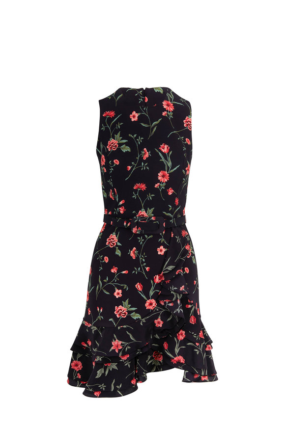 Michael Kors Collection Black & Rosewood Floral Ruffle Hem Belted Dress