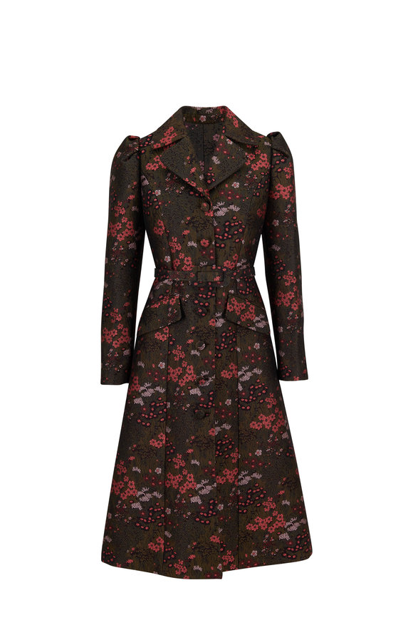 Michael Kors Collection Princess Reefer Rosewood & Spruce Belted Coat