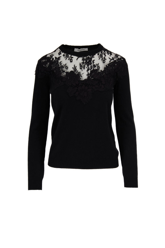 Valentino Black Wool & Cashmere Lace Yoke Sweater