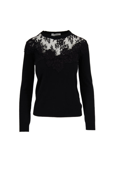 Valentino - Black Wool & Cashmere Lace Yoke Sweater
