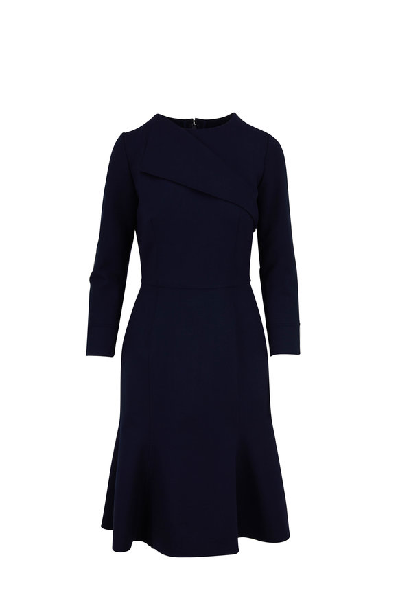 Oscar de la Renta Navy Stretch Wool Long Sleeve Fluted Hem Dress