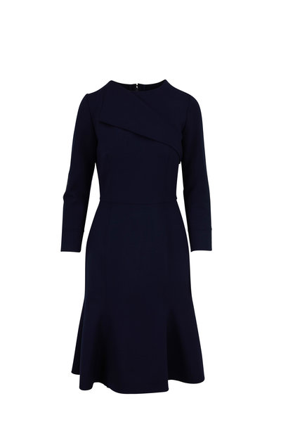 Oscar de la Renta - Navy Stretch Wool Long Sleeve Fluted Hem Dress