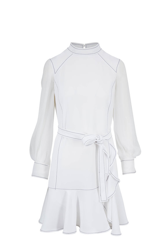 Carolina Herrera White Sheer Long Sleeves Ruffle Dress