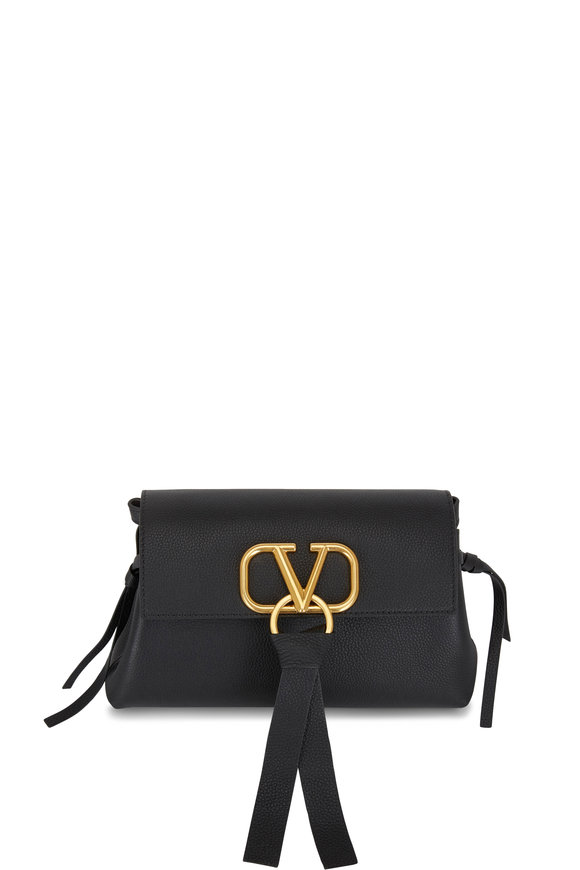 Valentino Garavani VRing Black Leather Small Convertible Clutch