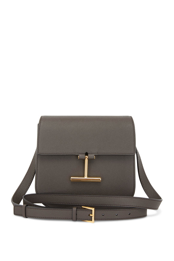 Tom Ford Tara Dark Pearl Leather T Clasp Mini Crossbody