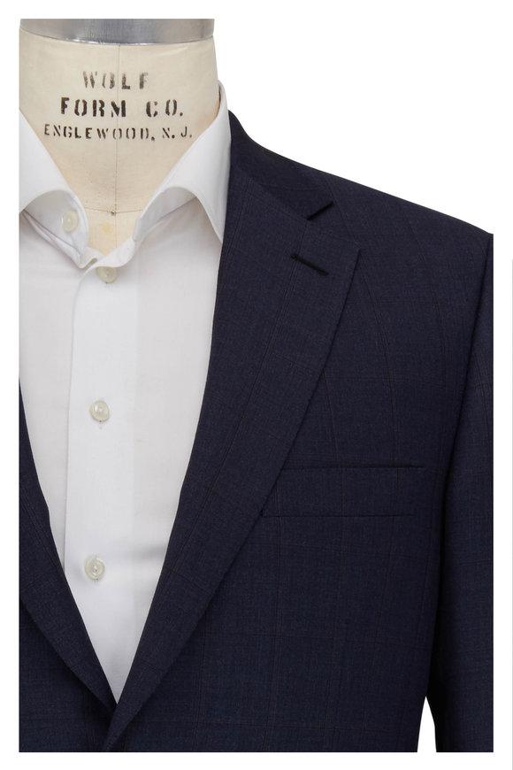 Brioni Navy & Slate Plaid Wool Suit