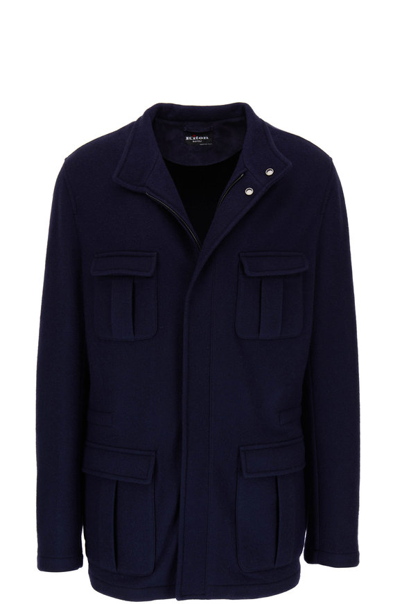 Kiton Navy Cashmere Safari Jacket