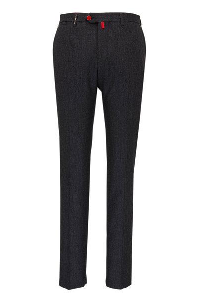 Kiton - Dark Gray Stretch Wool Pant