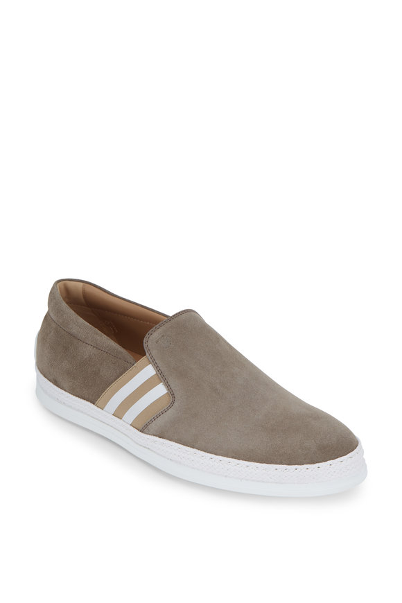 Tod's Gomma Taupe Suede Striped Side Gore Sneaker