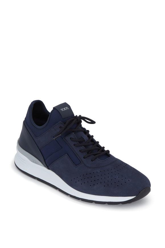 Tod's Navy Blue Neoprene & Suede Sneaker