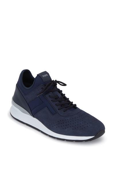 Tod's - Navy Blue Neoprene & Suede Sneaker