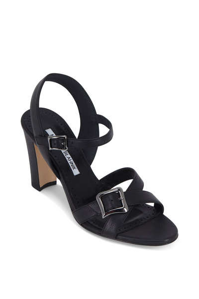 Manolo Blahnik - Rioso Black Leather Buckled Sandal, 90mm