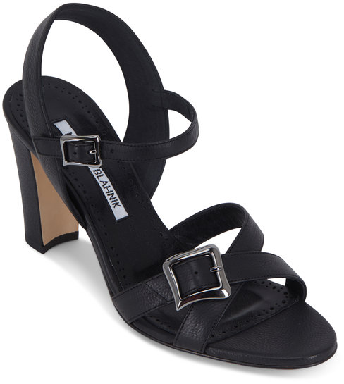 Manolo Blahnik Rioso Black Leather Buckled Sandal, 90mm