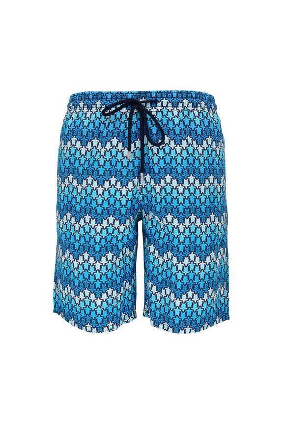 Vilebrequin Moorea Blue Herringbones Turtles Swim Trunks
