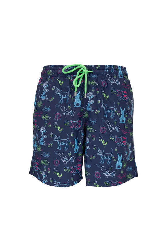 Vilebrequin Moorea Blue Long Rabbits & Poodles Swim Trunks