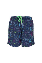 Vilebrequin - Moorea Blue Long Rabbits & Poodles Swim Trunks