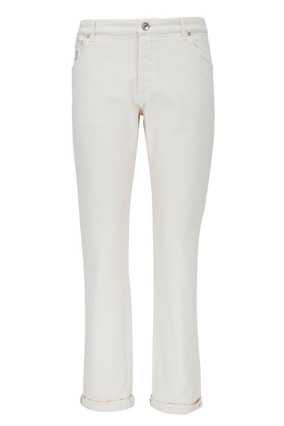 Brunello Cucinelli Off White Five Pocket Skinny Fit Jean
