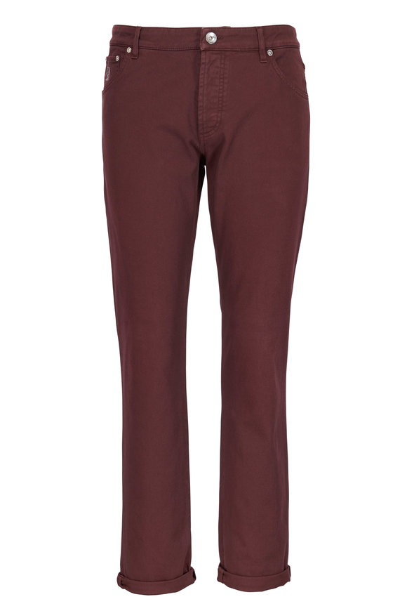 Brunello Cucinelli Burgundy Five Pocket Skinny Fit Jean