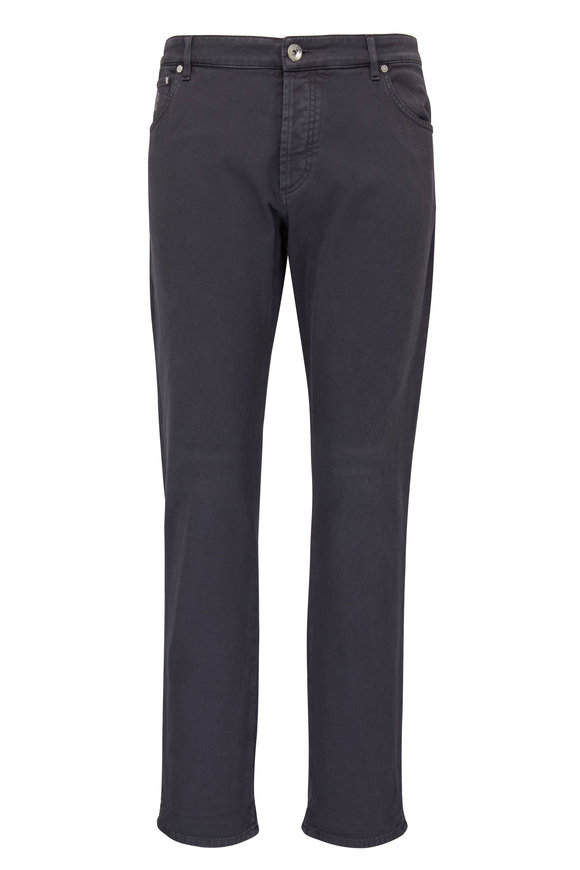 Brunello Cucinelli Dark Gray Five Pocket Skinny Fit Jean