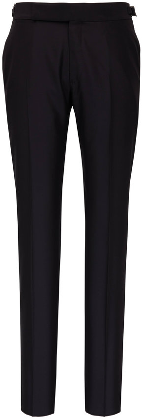 Ermenegildo Zegna Black Wool & Silk Formal Pant