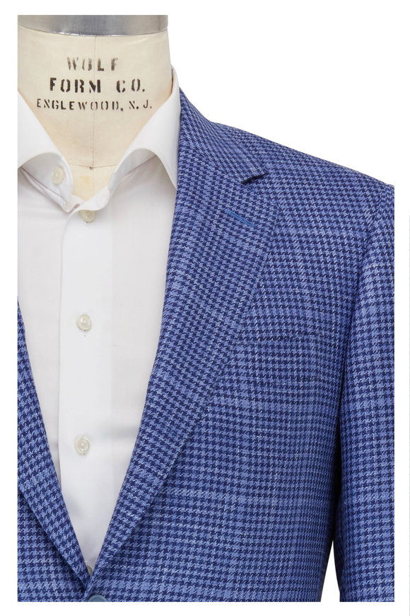Canali Light & Dark Blue Houndstooth Sportcoat