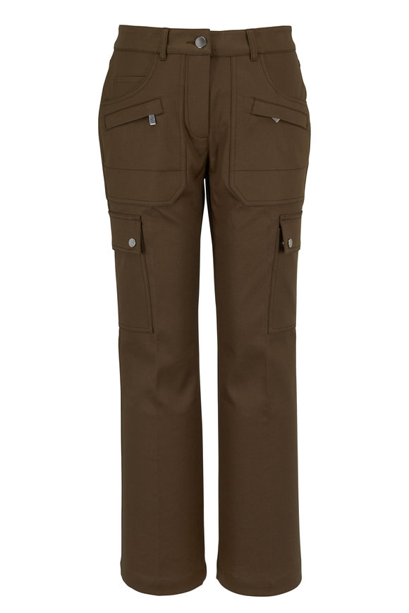 Michael Kors Collection Spruce Cotton Crop Flare Cargo Pant