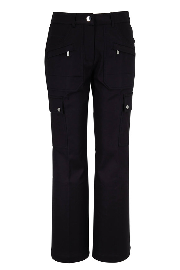 Michael Kors Collection Black Cotton Crop Flare Cargo Pant