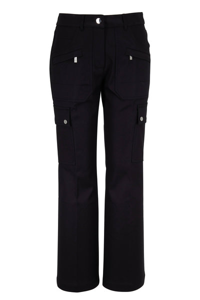 Michael Kors Collection - Black Cotton Crop Flare Cargo Pant