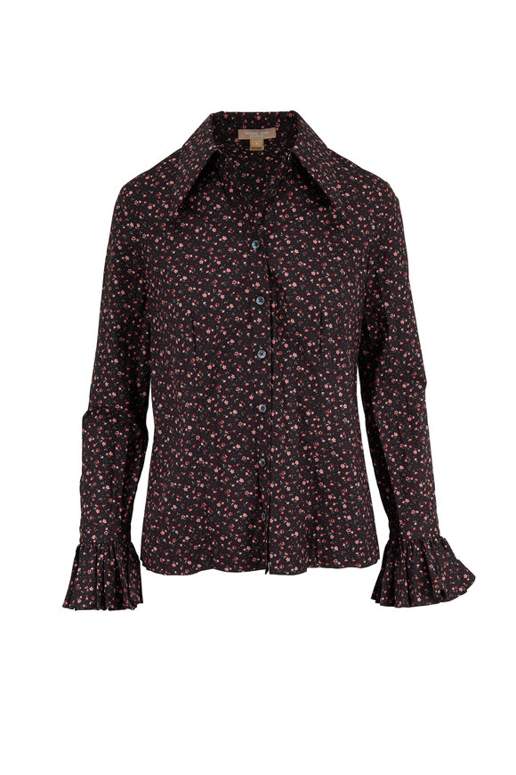 Michael Kors Collection Black & Rosewood Bell Cuff Button Down